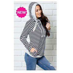 NEW Black White Striped Double Hoodie Sweatshirt